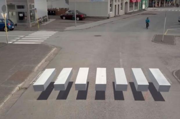 Испанияда жүргіншілерге арналған 3D форматтағы жолақ пайда болды